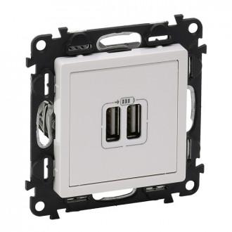 Зарядное устройство с двумя USB разъемами 1500 мА белое, Valena Life