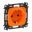 Розетка с защитными шторками оранжевая дизайн, Valena Allure