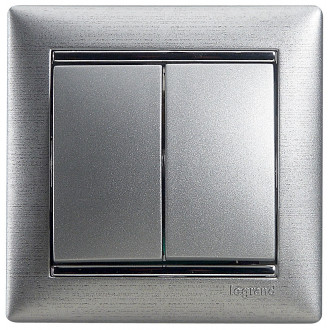 Выключатель двухклавишный цвета алюминий, Valena