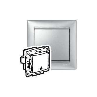 Кнопка с иконкой лампы цвета алюминий, Valena