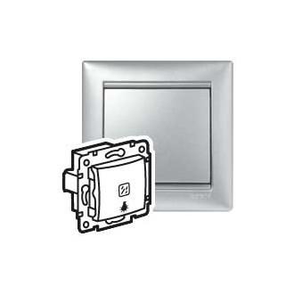 Кнопка с подсветкой с иконкой лампы цвета алюминий, Valena