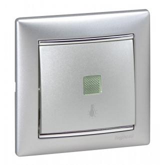 Кнопка с подсветкой с иконкой лампы цвета алюминий, Valena (комплект 10 шт.)