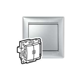 Выключатель двухклавишный с подсветкой цвета алюминий, Valena