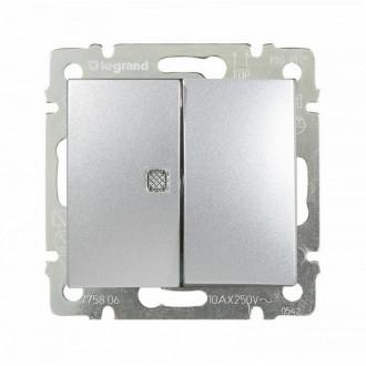 Выключатель двухклавишный с индикацией цвета алюминий, Valena (комплект 10 шт.)