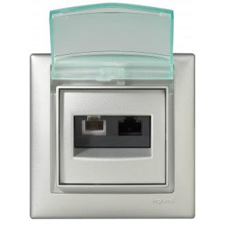 Рамка влагозащищенная IP44 цвета алюминий, Valena