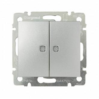 Выключатель двухклавишный с двумя индикаторами цвета алюминий, Valena (комплект 10 шт.)
