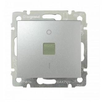 Выключатель двухполюсный 16А с индикацией цвета алюминий, Valena
