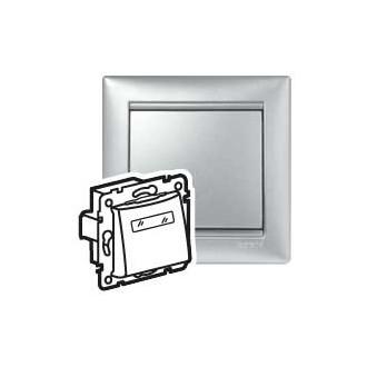 Кнопка 12 В с подсветкой с этикеткой цвета алюминий, Valena