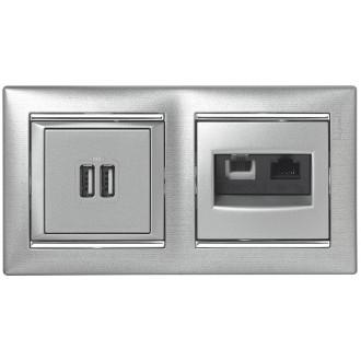 RJ-45 UTP 1 разъем на винтах цвета алюминий, Valena