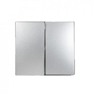 Лицевая панель для двухклавишного выключателя цвета алюминий, Valena (комплект 10 шт.)