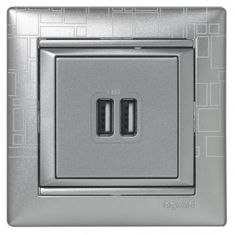 Зарядное устройство USBx2 цвета алюминий, Valena