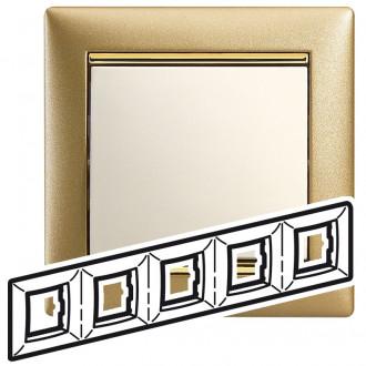 Рамка 5 постов матовое золото, Valena