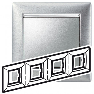 Рамка 4 поста алюминий матовый, Valena