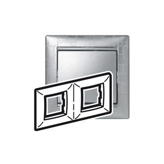 Рамка 2 поста алюминий модерн, Valena