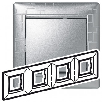 Рамка 4 поста алюминий модерн, Valena