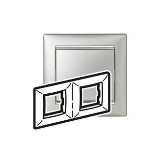 Рамка 2 поста алюминий/серебряный штрих, Valena