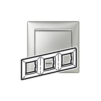 Рамка 3 поста алюминий/серебряный штрих, Valena