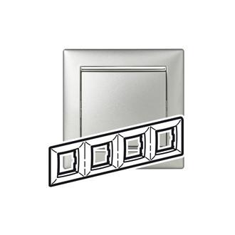 Рамка 4 поста алюминий/серебряный штрих, Valena