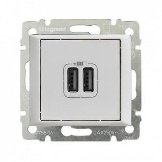 Зарядное устройство USBx2 белое, Valena