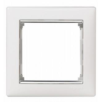 Рамка белый/серебряный штрих, Valena