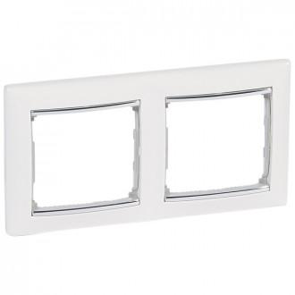 Рамка 2 поста белый/серебряный штрих, Valena