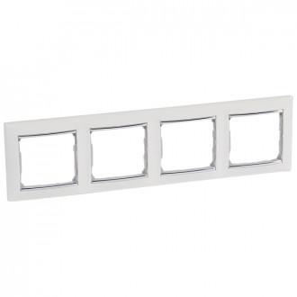 Рамка 4 поста белый/серебряный штрих, Valena