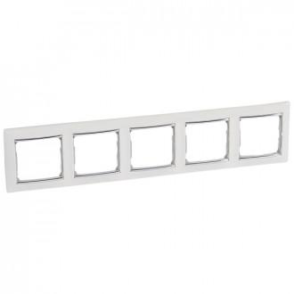 Рамка 5 постов белый/серебряный штрих, Valena