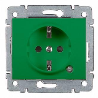 Розетка с индикацией и с защитными шторками зеленая, Galea Life (комплект 10 шт.)