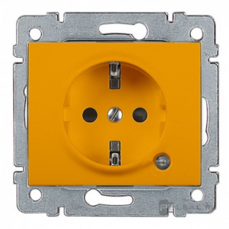 Розетка с индикацией и с защитными шторками оранжевая, Galea Life (комплект 10 шт.)