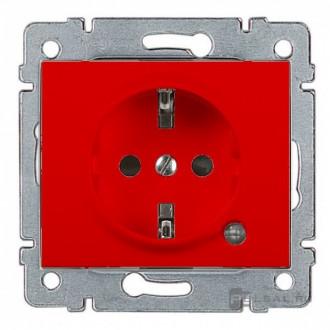 Розетка с индикацией и с защитными шторками красная, Galea Life (комплект 10 шт.)