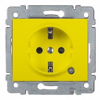 Розетка с индикацией и с защитными шторками желтая , Galea Life
