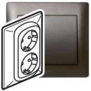 Двойная розетка с автоматическими клеммами с защитными шторками темно-бронзовая, Galea Life (комплект 5 шт.)