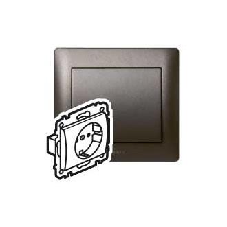 Розетка с автоматическими клеммами с защитными шторками темно-бронзовая, Galea Life (комплект 10 шт.)