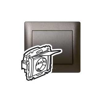 Розетка с защитными шторками и крышкой темно-бронзовая, Galea Life (комплект 10 шт.)