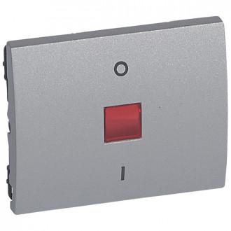 Клавиша двухполюсная 0/1 с индикацией цвета алюминий, Galea Life