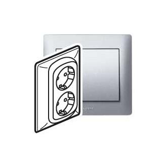 Двойная розетка с винтовыми клеммами цвета алюминий, Galea Life (комплект 5 шт.)