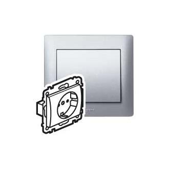 Розетка с автоматическими клеммами с защитными шторками цвета алюминий, Galea Life (комплект 10 шт.)