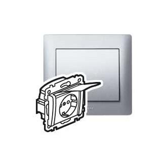Розетка с защитными шторками и крышкой цвета алюминий, Galea Life (комплект 10 шт.)