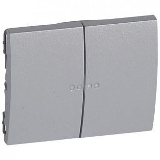 Клавиша двойная с индикацией цвета алюминий, Galea Life