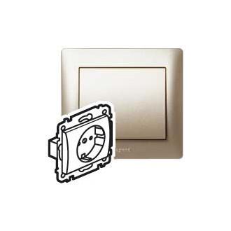 Розетка с автоматическими клеммами с защитными шторками цвета титан, Galea Life (комплект 10 шт.)