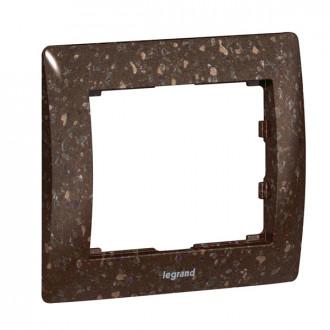 Рамка 1 пост коричневая под искусственный камень, Galea Life