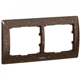 Рамка 2 поста коричневая под искусственный камень, Galea Life