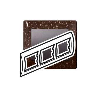 Рамка 3 поста коричневая под искусственный камень, Galea Life