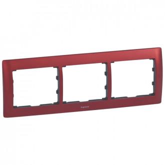 Рамка металлическая 3 поста красная, Galea Life