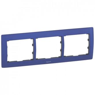 Рамка металлическая 3 поста синяя, Galea Life