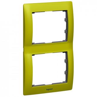 Рамка металлическая 2 поста зеленая, Galea Life