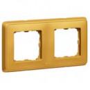 Рамка 2 поста матовое золото, Cariva
