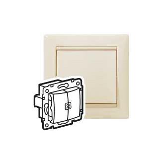 Выключатель двухклавишный с двумя индикаторами слоновая кость, Valena (комплект 10 шт.)