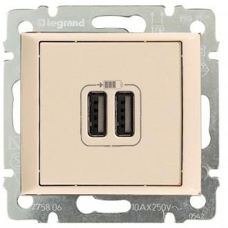 Зарядное устройство USBx2 слоновая кость, Valena