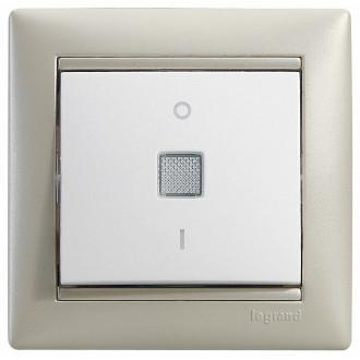 Выключатель двухполюсный 16А с индикацией белый, Valena (комплект 10 шт.)